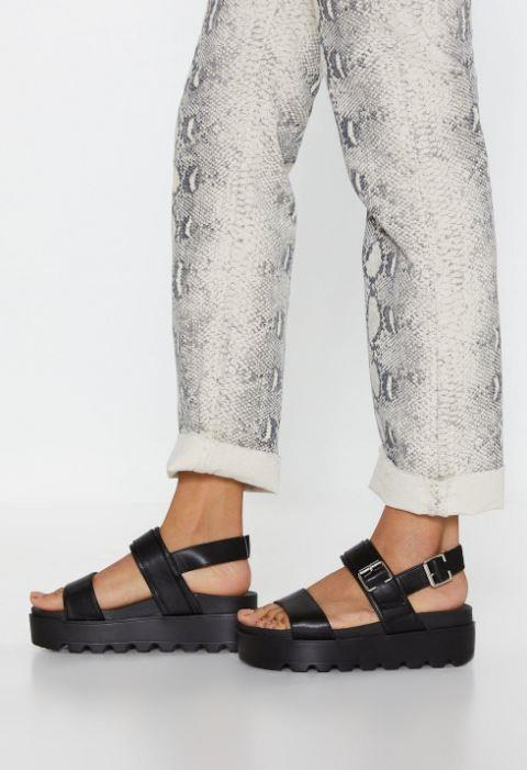 """Nasty Gal also came up with its own affordable version of the style. $33 (on sale), **[buy them online here](https://www.nastygal.com/au/work-your-way-up-faux-leather-platform-sandals/AGG76760-105-16.html