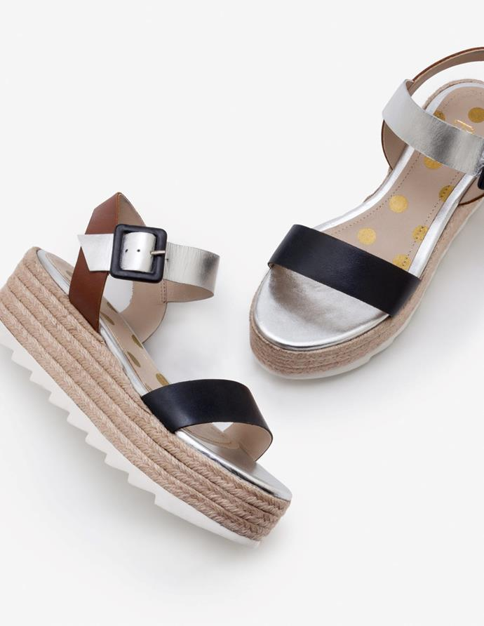 """Boden's combination metallic espadrille is our idea of summer fun. $80 (on sale), **[buy them online here.](https://www.bodenclothing.com.au/en-au/lena-platform-sandals-navy-silver-and-tan/sty-a0407-nav
