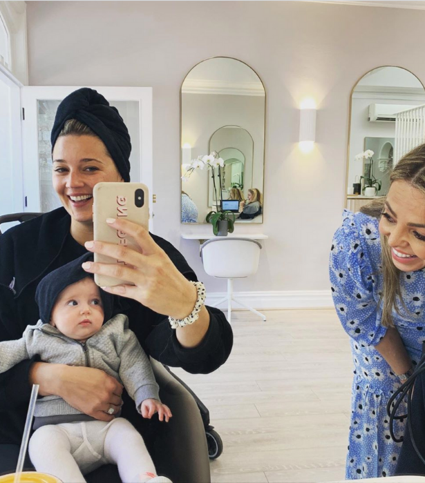 When mum heads to the salon for a refresh, so does baby Harper! We can't get enough of this cute photo of the duo in matching head towels.