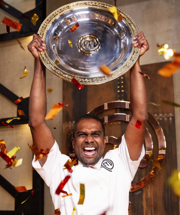 Fans will recognise a familiar face on the show – former MasterChef winner Sashi Cheliah's (pictured) 11-year-old son.