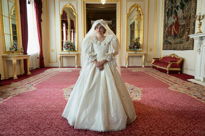 In the reveal we were all waiting for, Netflix shared this glorious still from the upcoming season featuring Emma Corrin (as Princess Diana) in a redesign of the late royal's iconic  David & Elizabeth Emanuel wedding dress. Obsessed.