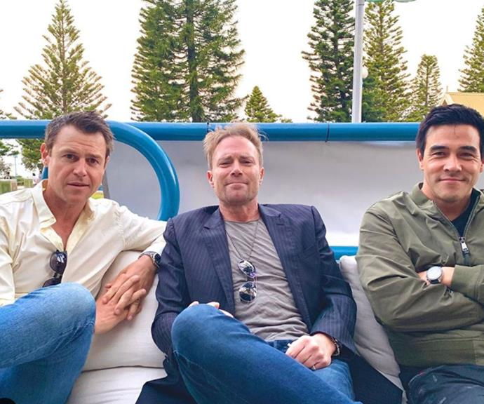 Talk about a power lunch for the ages! Rodger Corser, Ditch Davey and James Stewart caught up in Sydney's Coogee over the October long weekend.
