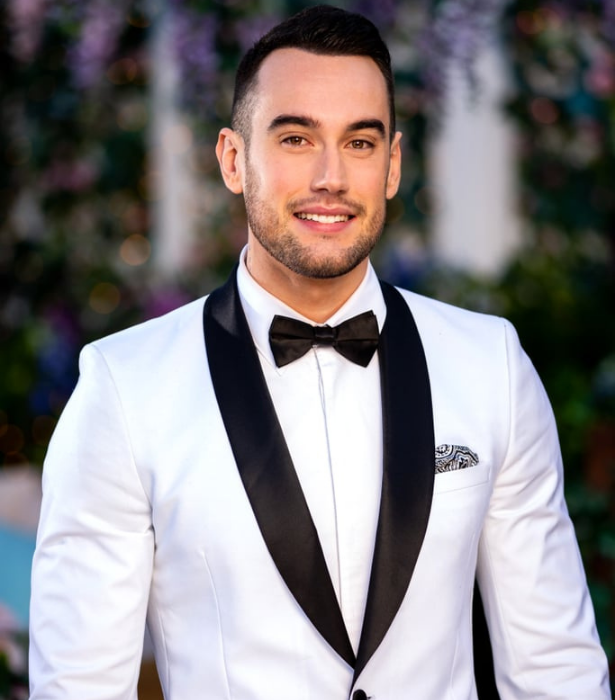 """**Nick, 25, NSW** <br><br> Despite walking the line between being confident and cocky, Nick often finds himself struggling to string a sentence together around someone he likes! <br><br> Still, this self-proclaimed """"loyal, honest and energetic"""" support worker is looking to be """"blown away"""" in the Bachie mansion by a girl who isn't afraid to make the first move."""