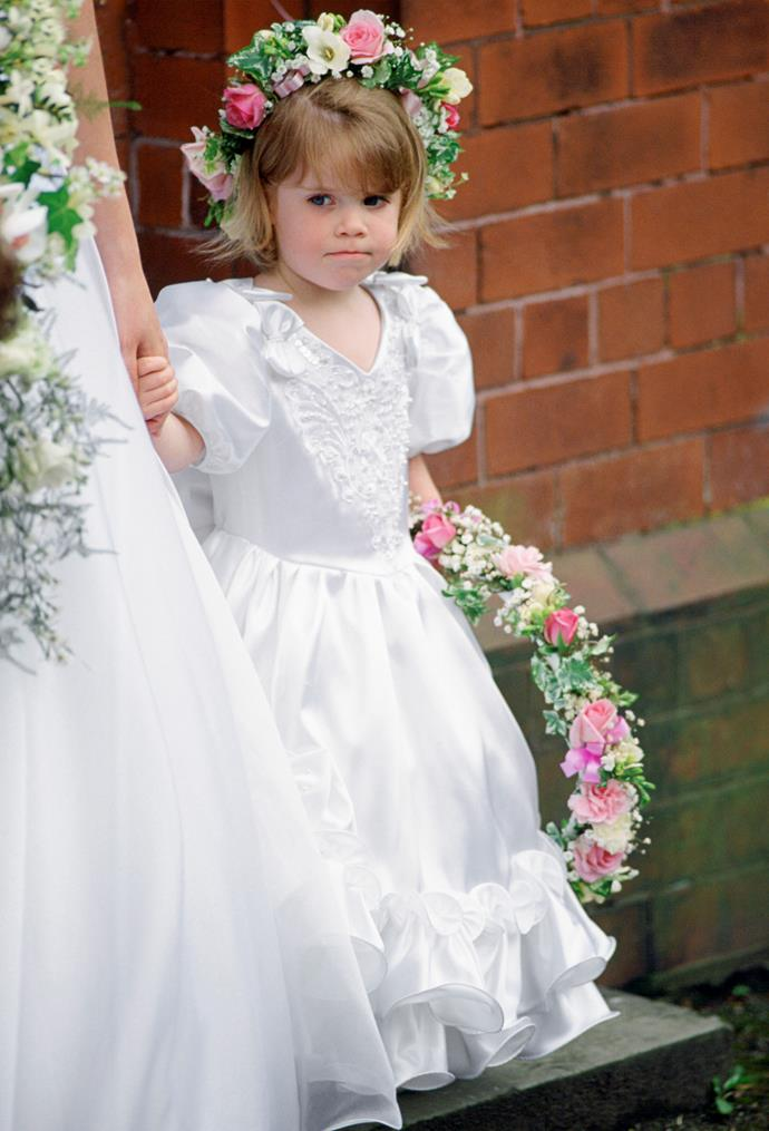 In 1993, Eugenie was a bridesmaid for her former nanny's wedding alongside sister Beatrice.