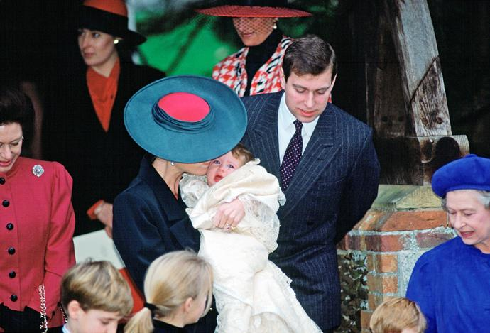 At Eugenie's royal christening in December 1990, the family gathered privately to celebrate the special day.