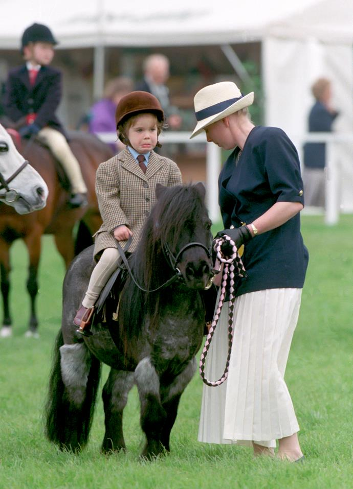 Eugenie hasn't quite followed the equestrian path her cousin Zara Tindall pursued, but that's not to say she never gave horse riding a go... to varying degrees of success by the looks of things.