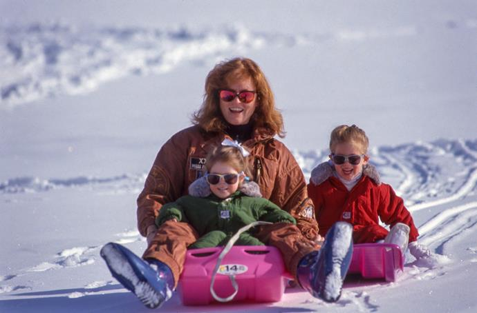 She's also not afraid of a little adventure - Sarah loved to take her young girls to the slopes.