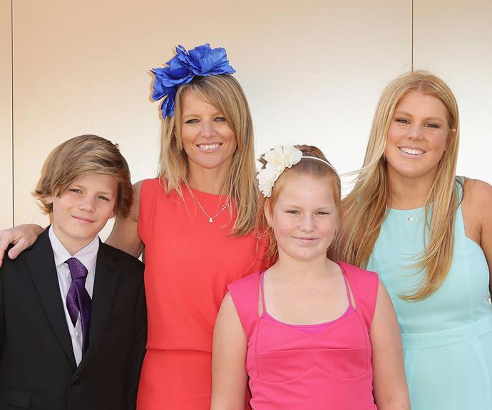 Jackson with his mum Simone and sisters Summer and Brooke.
