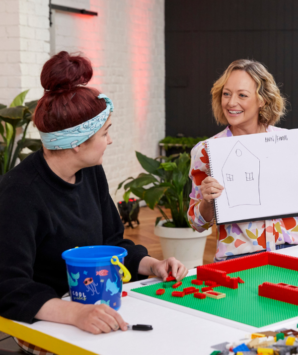 While other couples joke at the novelty of the experience, Brisbane's Jimmy and Tam are diehard fans of *Lego Masters*, and reveal they were out to impress The Brickman from the get-go.