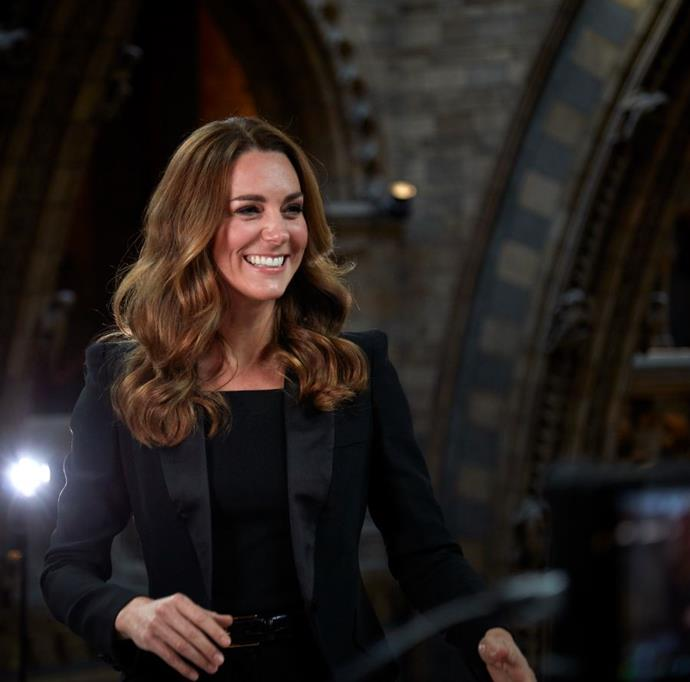 Kate looked incredible in this black suit ensemble.