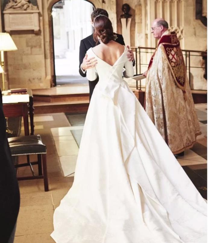 Eugenie's stunning wedding dress was on show in another unseen snap.