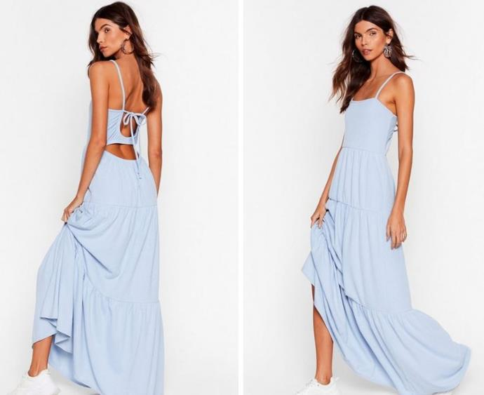 """Nasty Gal's maxi with a peek of skin at the back is a perfect day to night option. $26, **[buy it online here](https://www.nastygal.com/au/tiers-to-us-cut-out-maxi-dress/AGG51261-1.html?color=106