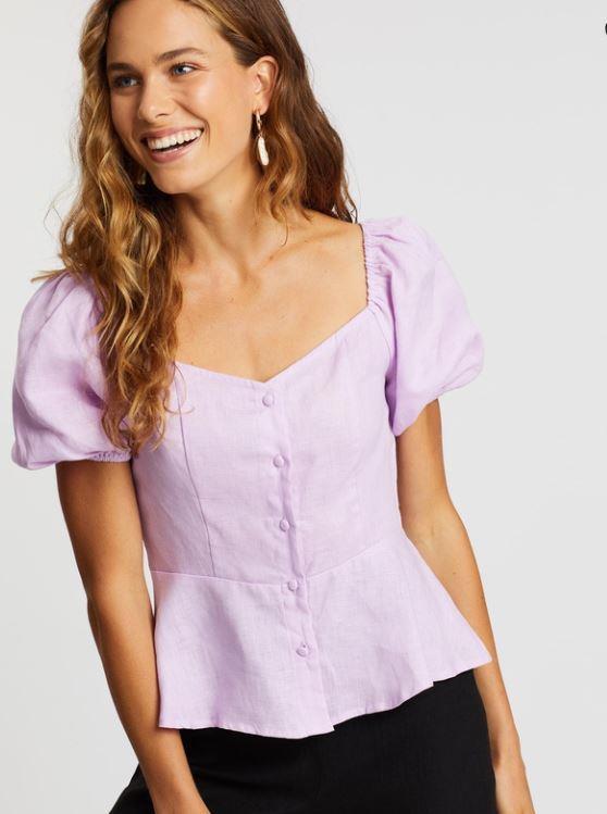 "Aere's soft lilac peplum top is a winner. $53.40 (on sale), **[buy it online here](https://www.theiconic.com.au/linen-peplum-top-1004492.html|target=""_blank""|rel=""nofollow"")**."