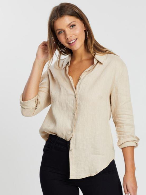 """ATMOS&HERE's linen shirts are easy on the eyes, and the earth. $79.99, **[buy it online via The Iconic here](https://www.theiconic.com.au/sorrento-linen-shirt-904926.html