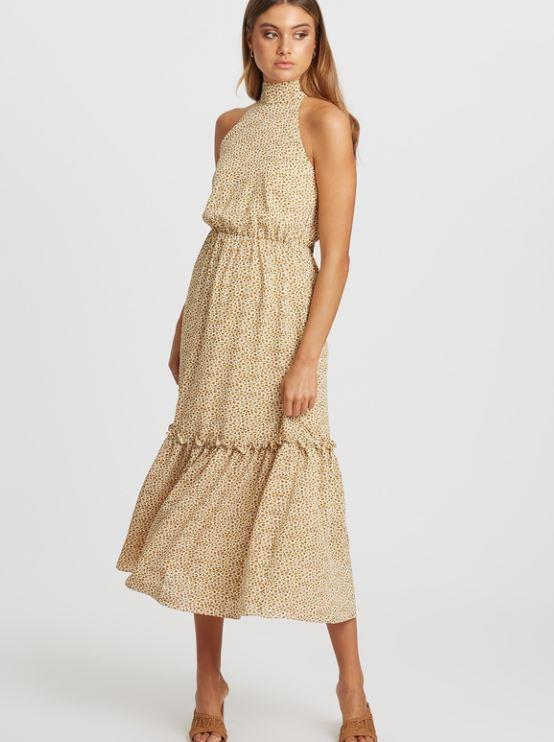 """The Iconic's considered range has a bunch of sustainably friendly options - like this Callie halter neck summer dress. $77.97 (on sale), **[buy it online here](https://www.theiconic.com.au/crysta-halter-neck-dress-1031706.html