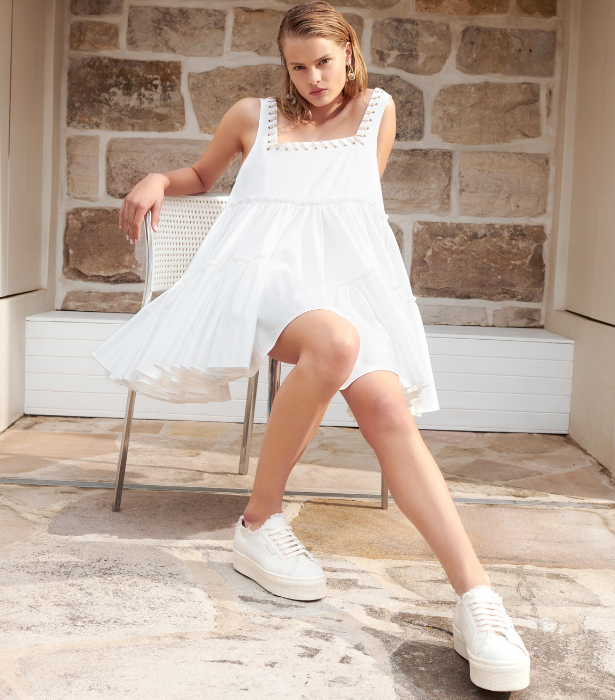 "**AJE**<br><br>Aje has become a must-have wardrobe addition for anyone with their finger on the pulse of Australian fashion. <br><br>The chic label has teamed up with equally cool shoe brand Superga to create a stylish and sustainable sneaker. <br><br>Made from 60% organic cotton, 40% natural hemp, 100% organic thread, a natural cork insole and a 50% recycled rubber sole, with all materials sourced from local suppliers, they're the perfect wardrobe staple. <br><br>  Shop the shoes, [here](https://go.skimresources.com?id=105419X1569321&xs=1&url=https%3A%2F%2Fajeworld.com.au%2Fpages%2Fsupergaxaje|target=""_blank"")."