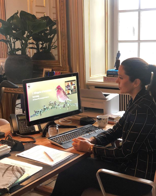 Princess Mary looked chic in her working from home set-up.