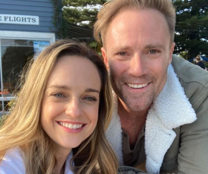 Penny McNamee and Ditch Davey on the set of *Home And Away*.