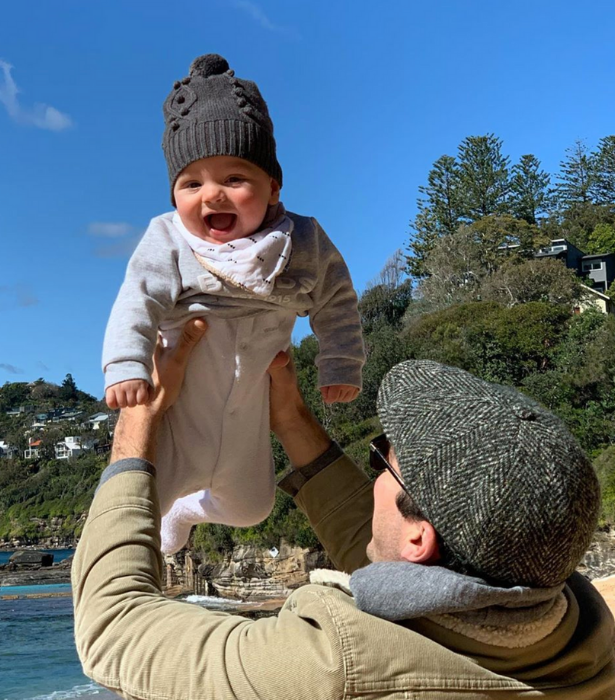 Sylvia announced her second pregnancy with this adorable snap of Oscar.