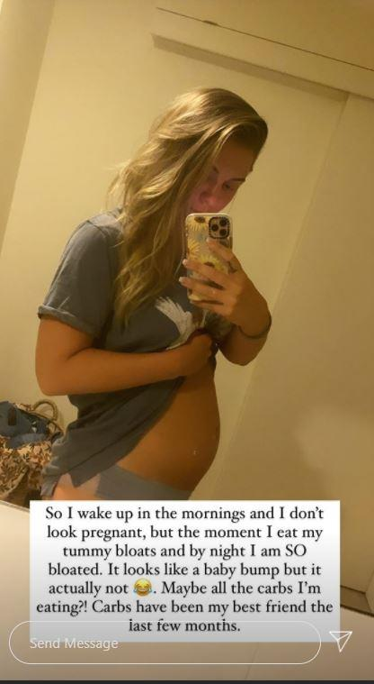 """Tara got candid during the early stages of her pregnancy by sharing her experience with bloating. """"I wake up in the mornings and I don't look pregnant, but the moment I eat my tummy bloasts and by night I am SO bloated. It looks like a baby bump but it's actually not. Maybe all the carbs I'm eating?!"""" She humorously penned."""