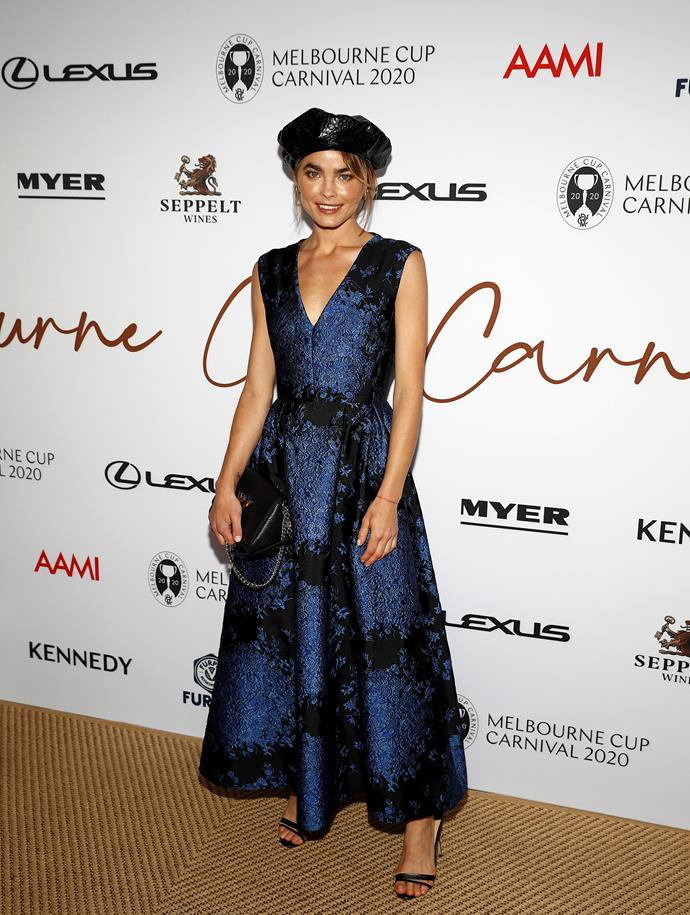 Up there with Kate Waterhouse's gorgeous ensemble, Bambi Northwood-Blyth was another strong contender for best dressed in this elegant midnight blue design complete with a beret-style hat.