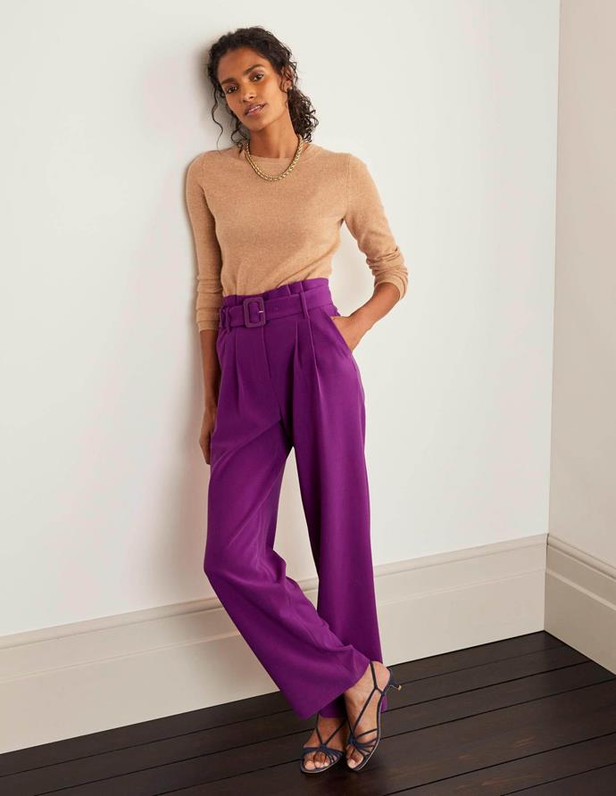 """Boden Powis Wide Leg Trousers in jewel purple, $170. [Buy them online here](https://www.bodenclothing.com.au/en-au/powis-wide-leg-trousers-jewel-purple/sty-t0605-pur