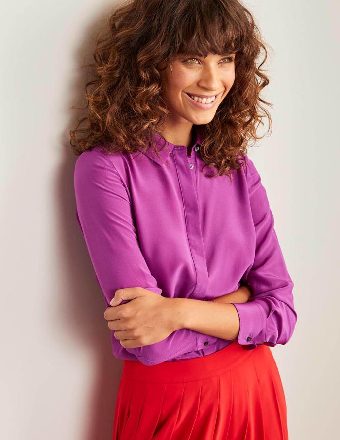 "Boden Silk Shirt, jewel purple, $180. [Buy it online here](https://www.bodenclothing.com.au/en-au/the-silk-shirt-jewel-purple/sty-w0323-pur|target=""_blank""|rel=""nofollow"")."