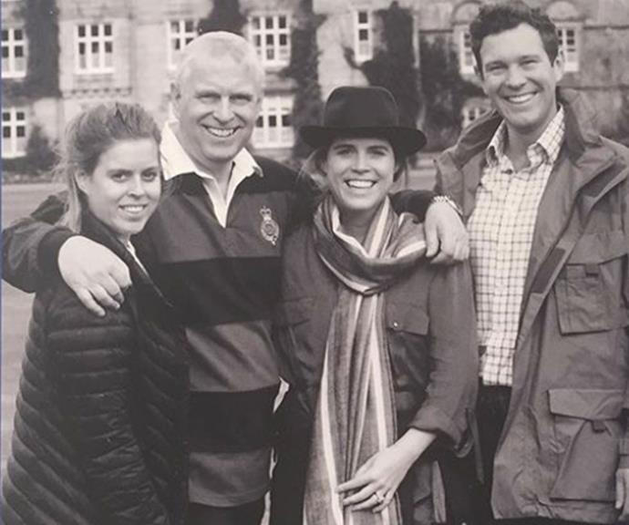 Princess Beatrice, Prince Andrew, Princess Eugenie and Jack Brooksbank pose for a family photo.