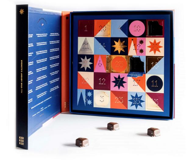 "**Koko Black All Star Advent Calendar** <br><br>  If you love the nostalgia of a chocolate-filled calendar but are looking to upgrade you taste, look no further than this number full of fancy treats. <br><br>  $69 from [Koko Black stores and online.](https://www.kokoblack.com/products/advent-calendar?variant=31975819575394&currency=AUD&utm_medium=product_sync&utm_source=google&utm_content=sag_organic&utm_campaign=sag_organic&gclid=Cj0KCQjwufn8BRCwARIsAKzP694nnyAIPn9atq2V_Bb8NkE-b7I04cTF3gZec4s6DNcjHCQPlkJ8QBEaAnI_EALw_wcB|target=""_blank"")"