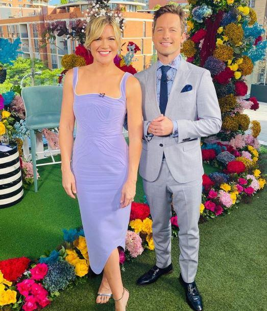 Studio Ten's Sarah Harris and co-host Tristan McManus were all smiles from their Cup Day inspired set on Tuesday.