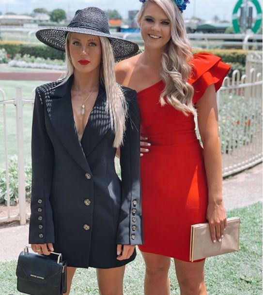 """SAS tough warriors can dress up!"" wrote reality star Ali Oetjen alongside this trackside pic with her *SAS* co-star and Aussie swimmer Shayna Jack. ""Grace + Grit = The deadliest combination!"" Ali added."
