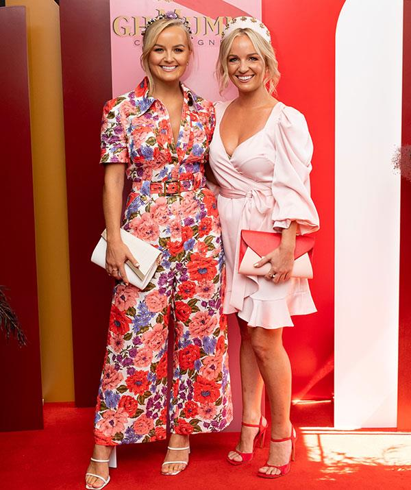 Sister act! Leading Bachelorette siblings Elly and Becky Miles turned heads at the G.H. Mumm Melbourne Cup Carnival celebrations at Pier One in Sydney.