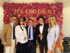 Spot the new parents! Jasmine and Karl had a sunny fiesta for Melbourne Cup on Tuesday.