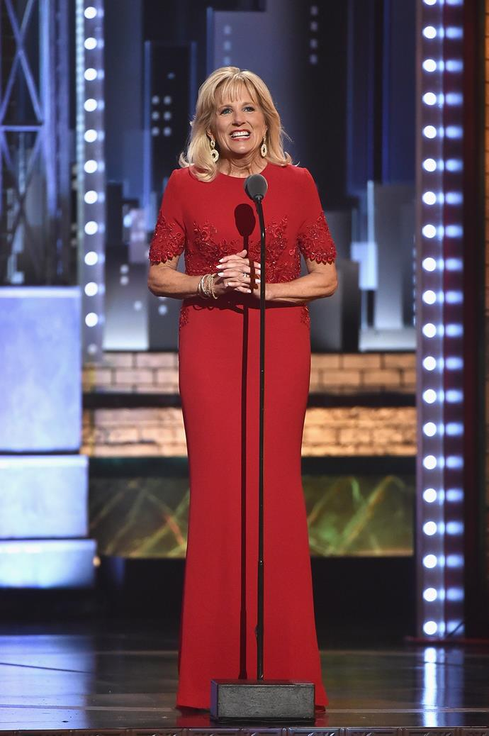 In 2017, Jill, who was the Second Lady of the United States at the time, presented at the Tony Awards in this striking red frock - it was a sure sign of some strong fashion moments to come...