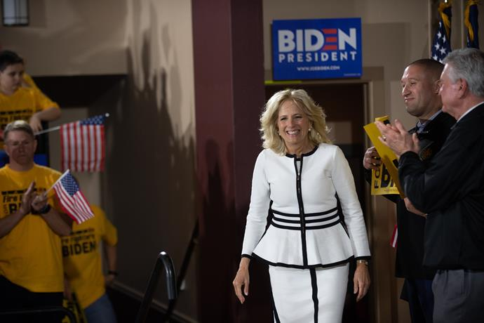 During a rally in 2019, Jill rocked monochrome chic in this peplum-inspired get-up.