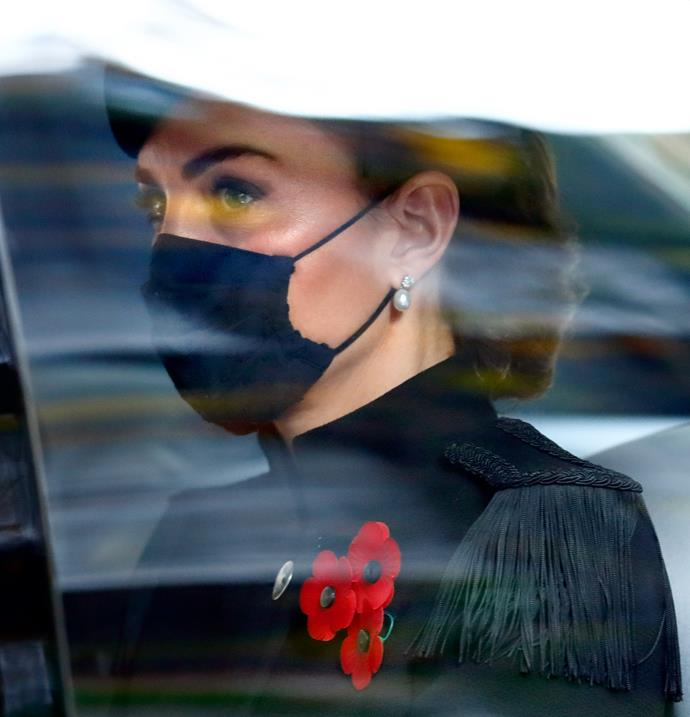 Duchess Catherine arrived by car wearing a face mask.