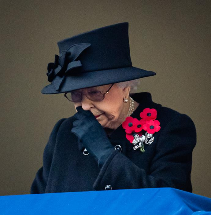The Queen was visibly emotional during the service.