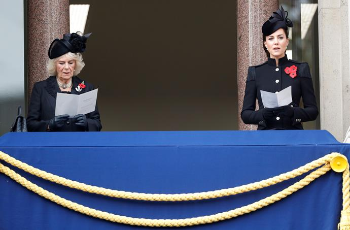 Kate and Camilla stood on the balcony socially distanced.