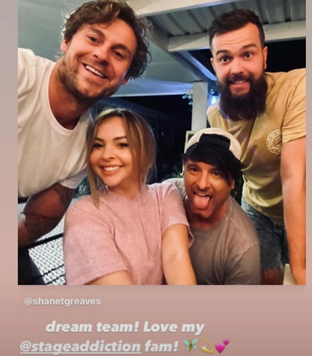 It doesn't look like the duo was on a date night, however, sharing this group pic with celebrity manager Shane Greaves.