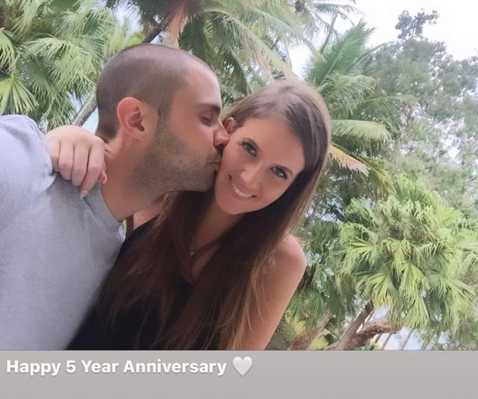 Going strong: The low-key couple rung in their five-year anniversary over the weekend.