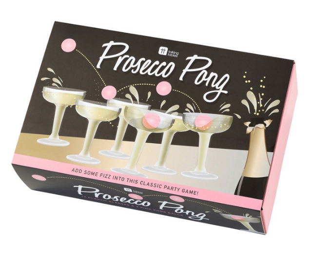 "**Outliving Talking Tables prosecco pong**<br><br>  Let's face it, drinking is even more fun when there are games involved. <br><br>   Consider prosecco pong the classy cousin of the infamous beer pong. The prosecco is unfortunately not included, but with an affordable price point you can throw in a bottle yourself and make it the perfect Christmas bundle.  <br><br>  Shop the Outliving Talking Tables prosecco pong, $29.95 [here or in Myer](https://www.myer.com.au/p/outliving-talking-tables-prosecco-pong|target=""_blank"") stores."