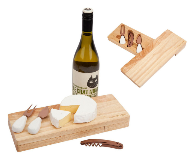 "**Sunnylife picnic wine & cheese set**<br><br>  Who doesn't love an afternoon picnic in the sun? Better yet, who doesn't love a good cheese board. Correct answer: no one. This picnic wine and cheese set is perfect to grab and go, plus it doubles as a cheese boards itself. <br><br>   Sunnylife picnic wine & cheese Set, $49.95, shop it at [The Iconic, here](https://www.theiconic.com.au/picnic-wine-cheese-set-943151.html|target=""_blank"")."