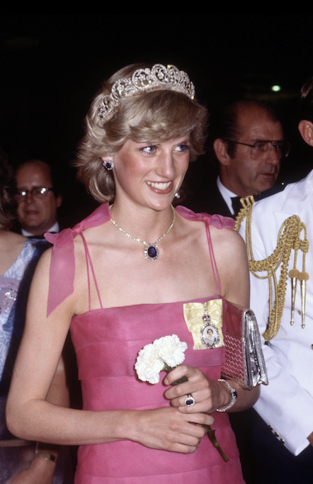 Diana's iconic pink Victor Edelstein dress was worn during her tour of Australia in 1983.
