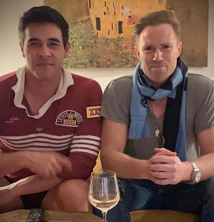 With a glass of wine in tow, the *Home And Away* co-stars enjoyed a cosy night in to watch the State Of Origin.