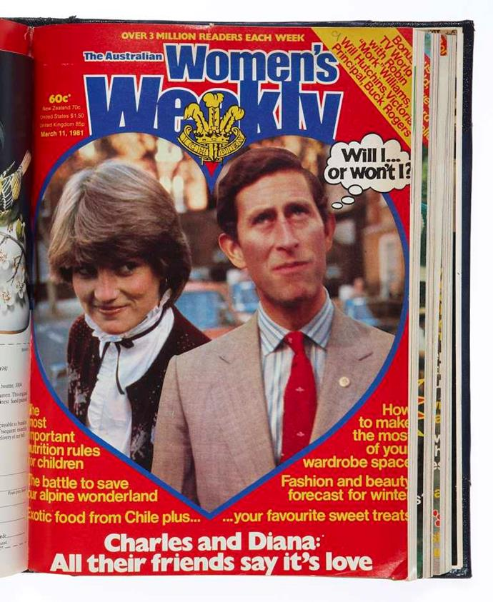 In comparison, this is an archived *Australian Women's Weekly* cover featuring Charles and Diana a few years before their Australian tour.