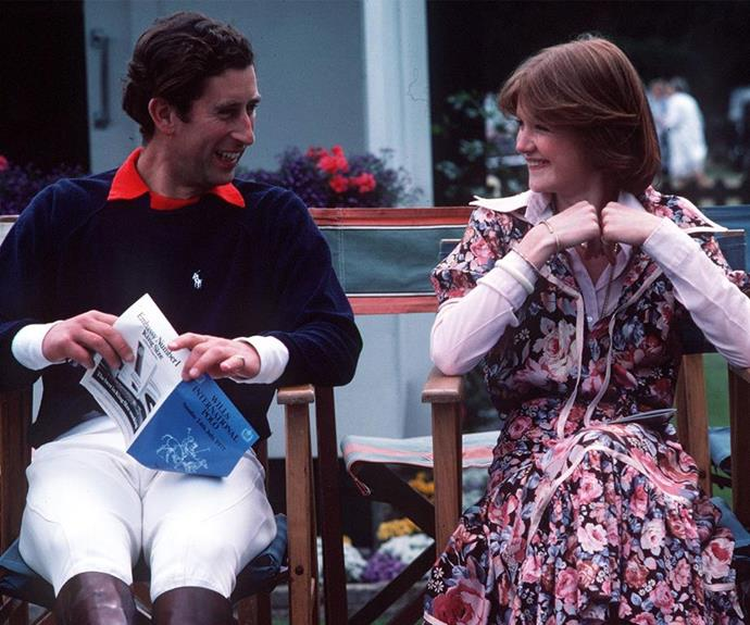 Charles and Sarah Spencer share a laugh at the Windsor polo in 1977 during their courtship.