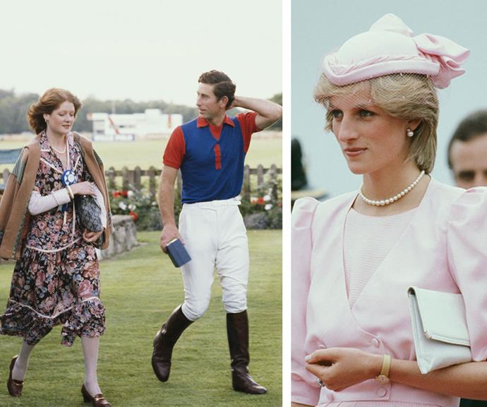 Lady Sarah Spencer, pictured with Charles at the polo, would go on to marry Neil McCorquodale and the pair are still together to this day.