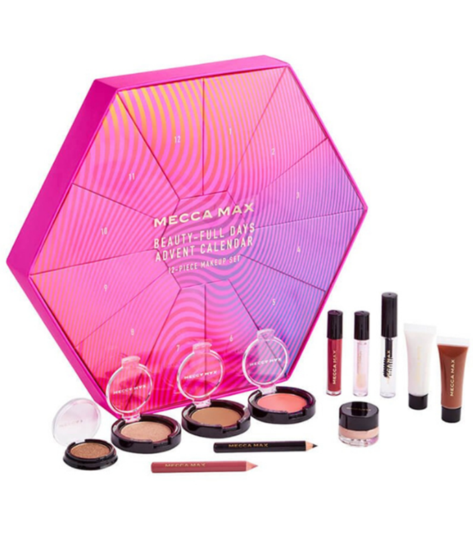 "**MECCA MAX ** <br><br> You get 12 beauty products - including a bronzer, blush and highlighter duo, an illuminator, an eyeshadow, a lip jelly, a cream shadow, a liquid shadow, a lip stain, a lip gloss, a lip crayon, an eye pencil and a brow gel - in this pretty advent calendar from beauty giant Mecca's affordable product line, Mecca Max. All of the products are cruelty-free and vegan.  <br><br> $65 from [Mecca Maxima stores and online](https://go.skimresources.com?id=105419X1569321&xs=1&url=https%3A%2F%2Fwww.mecca.com.au%2Fmecca-max%2Fbeauty-full-days%2FI-045226.html|target=""_blank"")"