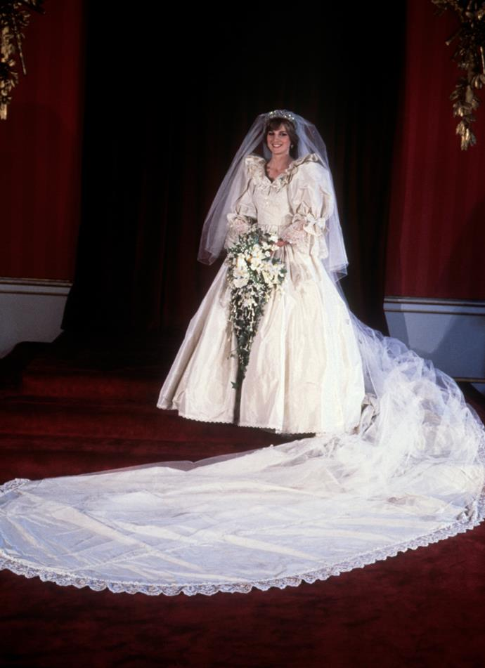 Another legendary garment worn by the People's Princess was her wedding dress - designed by Elizabeth Emanuel, the puff-sleeved tulle-clad creation set the precedent for bridal fashion for decades to come.