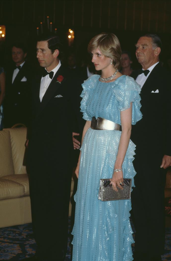 On their royal tour of Australia in 1983, Charles and Diana attended a glitzy ball - so it made sense for Di to wear just as glitzy a dress.
